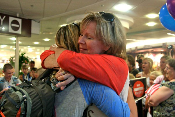 mom welcoming me home from Uganda 2012